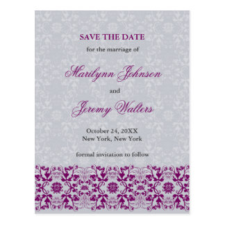 Damask Swirls Lace Orchid Save The Date Postcard