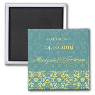 Damask Swirls Lace Peacock Save The Date Magnet