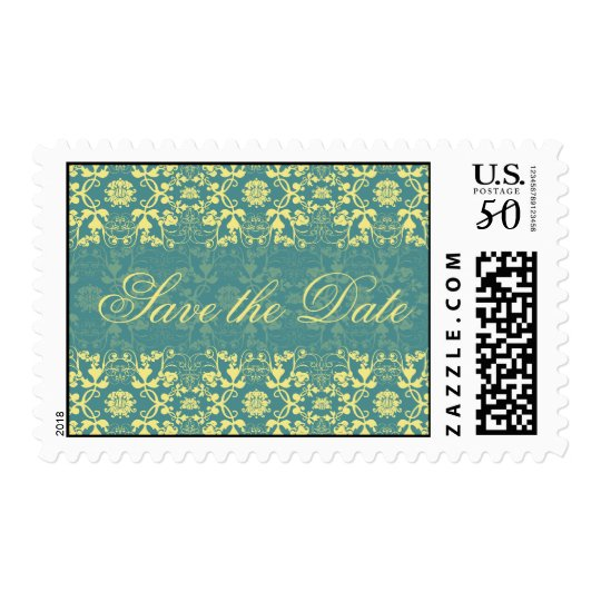 Damask Swirls Lace Peacock Save The Date Postage
