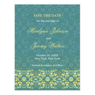 Damask Swirls Lace Peacock Save The Date Postcard