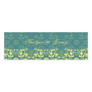 Damask Swirls Lace Peacock Thank You Gift Tag Mini Business Card