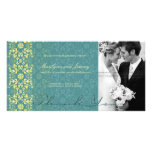 Damask Swirls Lace Peacock Thank You Photo Card Photo Card Template