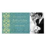 Damask Swirls Lace Peacock Thank You Photo Card Photo Card Template