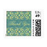 Damask Swirls Lace Peacock Thank You Stamp Postage