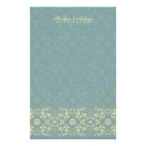 Damask Swirls Lace Peacock Thank You Stationery