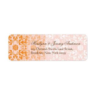 Damask Swirls Lace Sorbet Custom Label Return Address Labels