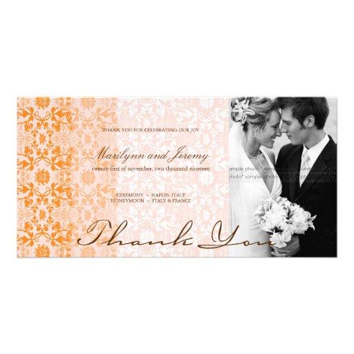 Damask Swirls Lace Sorbet Thank You Photo Card Personalized Photo Card