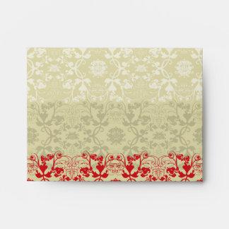 Damask Swirls Lace Spice Custom Wedding Envelope