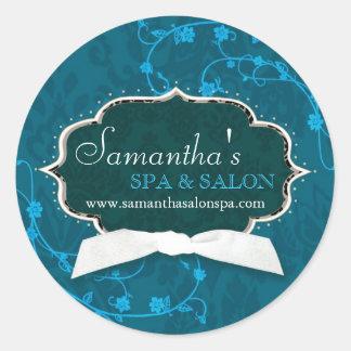 Damask Swirls Spa Salon Business Product Label