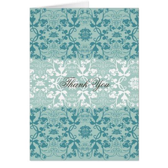 Damask Swirls Vintage Chic Lace Wedding Thank You Card