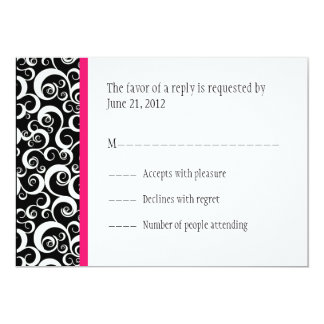 Damask Swirls Wedding RSVP Cards in Hot Pink