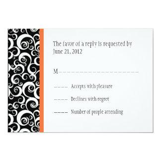 Damask Swirls Wedding RSVP Cards in Orange