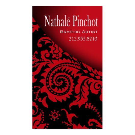 Stylish Red and Black Damask Graphic Artist Business Cards