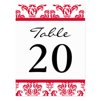Damask Table Numbers (Black / Red / White) Post Card