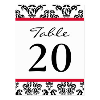Damask Table Numbers (Black / Red / White) Postcard