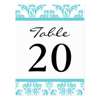 Damask Table Numbers (Black / Teal / White) Postcard