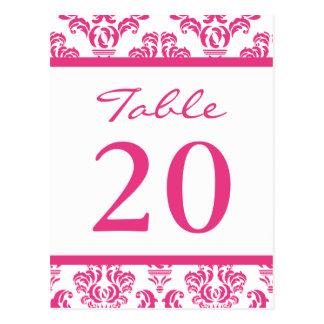 Damask Table Numbers (Dark Pink / White) Postcard
