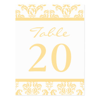 Damask Table Numbers (Gold / White) Post Cards