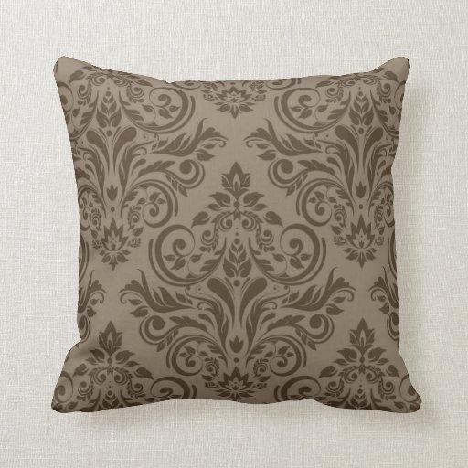 Damask - taupe brown pillow