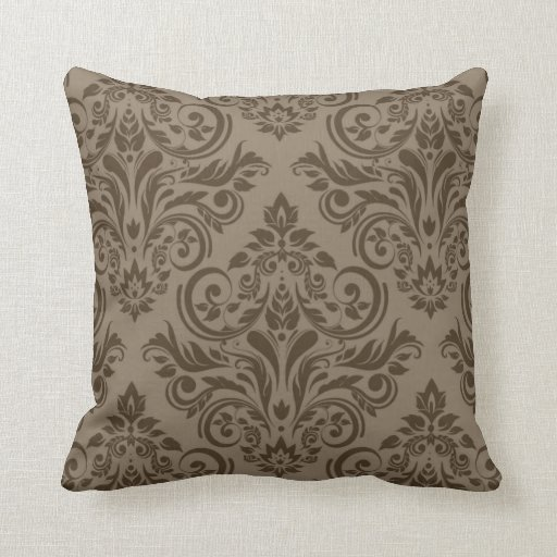 Damask - taupe brown throw pillow Zazzle