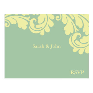 Damask Teal and lemon RSVP Postcard