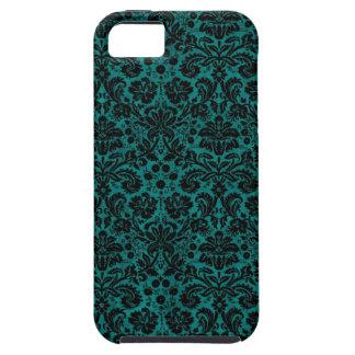 Damask Teal Black iPhone 5 Case