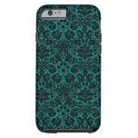 Damask Teal Black iPhone 6 Case