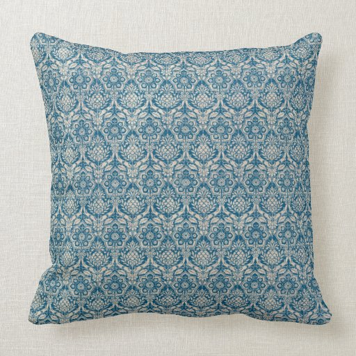 Damask Teal Blue Pattern Throw Pillow Zazzle