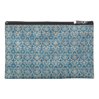Damask Teal Blue Pattern Travel Accessory Bag