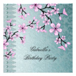 Damask Teal Blue Pink Blossom Asian Floral Party Personalized Invitation