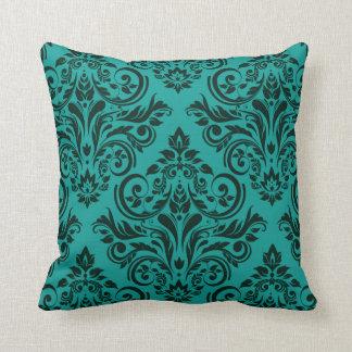 Damask - teal evergreen pillows