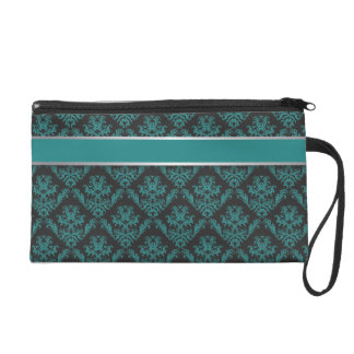 Damask Teal & Silver - Clutch 1