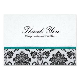 Damask Teal Wedding Thank You Card