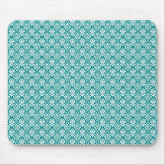 Damask Teal White Pattern Mouse Pad