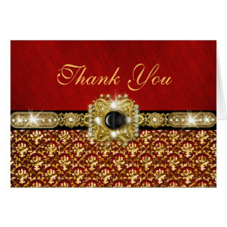 "Damask ""thank you"" black red gold card"