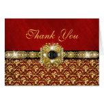 "Damask ""thank you"" black red gold greeting card"