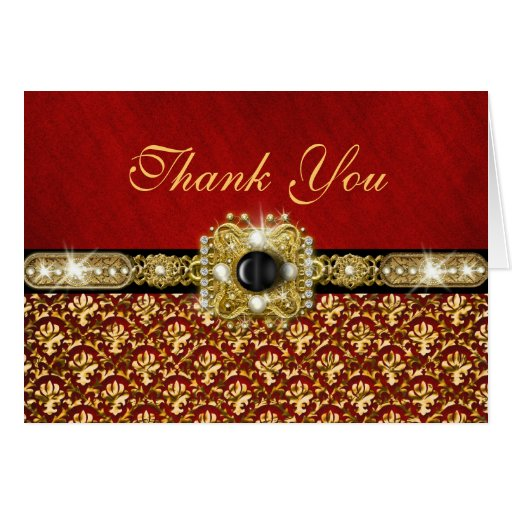 """Damask """"thank you"""" black red gold greeting cards"""