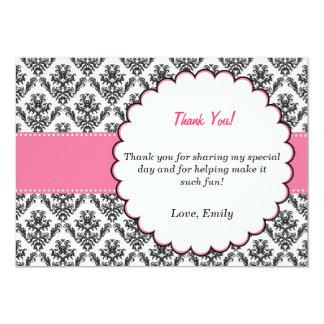 Damask Thank You Card Pink Black