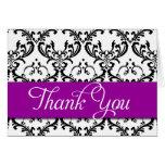 Damask Thank You Cards Purple Monogram