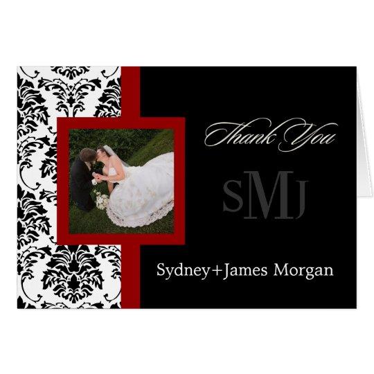 Damask Thank You Cards, wedding photos+monogram Card