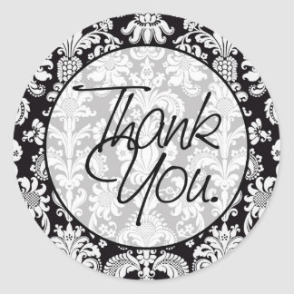 Damask | Thank You Classic Round Sticker