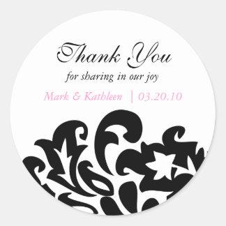 damask thank you sticker