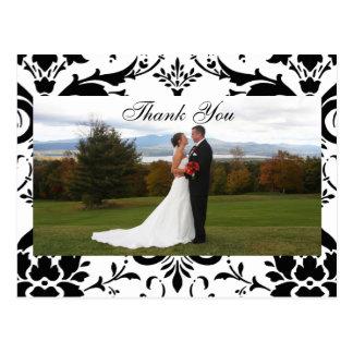 Damask Thank You Wedding Photo Post Card