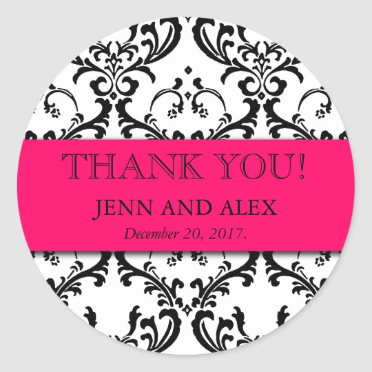 Damask Thank You Wedding Stickers Favours Hot Pink