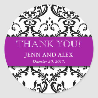 Damask Thank You Wedding Stickers Favours Purple