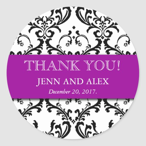 Damask Thank You Wedding Stickers Favours Purple