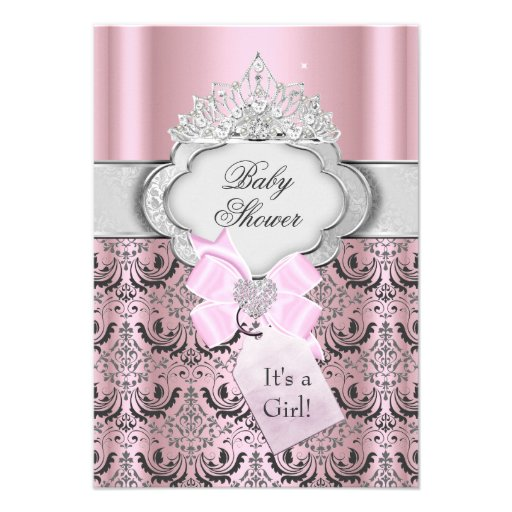 Damask & Tiara Princess Baby Shower Invitation Custom Announcements