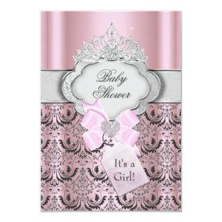 "Damask & Tiara Princess Baby Shower Invitation 3.5"" X 5"" Invitation Card"
