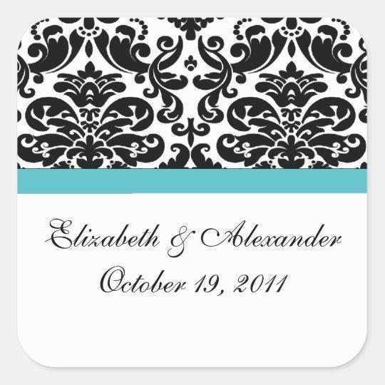 Damask Turquoise Blue Bridal Shower Square Sticker