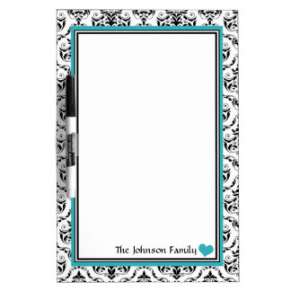 Damask Turquoise Personalized Dry-Erase Board